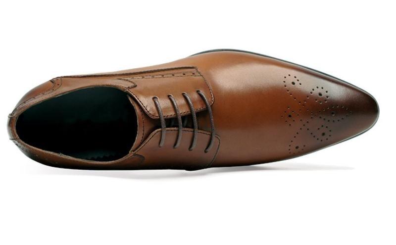 Zapatos Negocios Cuero Brouge Punta Hombre Vestir Talla Hombres Black Negro brown Trabajo Tendencia De Marrón Genuino Boda Oficina Los YEfBw6