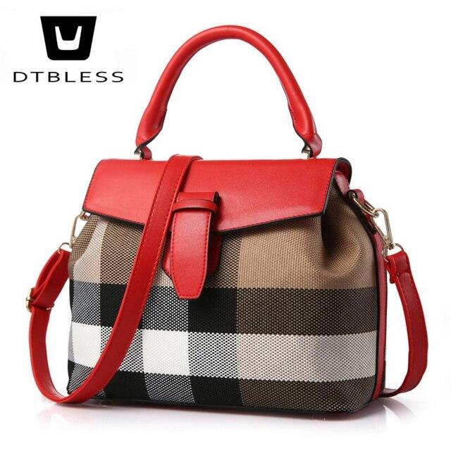 0b7b328b9c85 DTBLESS 2018 Fashion Women Bag Canvas Handbag Messenger Bag PU Leather Shoulder  Bag Stripe Crossbody Bag C8160 1-in Top-Handle Bags from Luggage   Bags on  ...