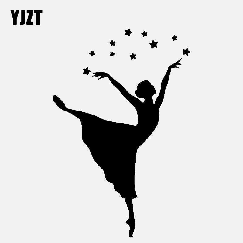 YJZT 8.9CM*13.6CM Vinyl Decal Girl Dancer And Cute Stars Car Sticker Black/Silver C3-0698
