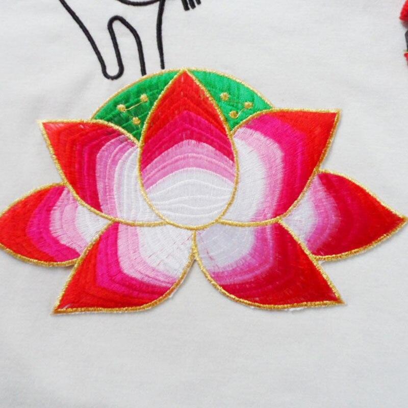 0888c6f8a522b 3D Lotus Çiçek Işlemeli Yamalar Giyim için Vintage Parches Yama Aplike  üzerinde Demir Yamaları Diy Elbise Kumaş Aksesuarları
