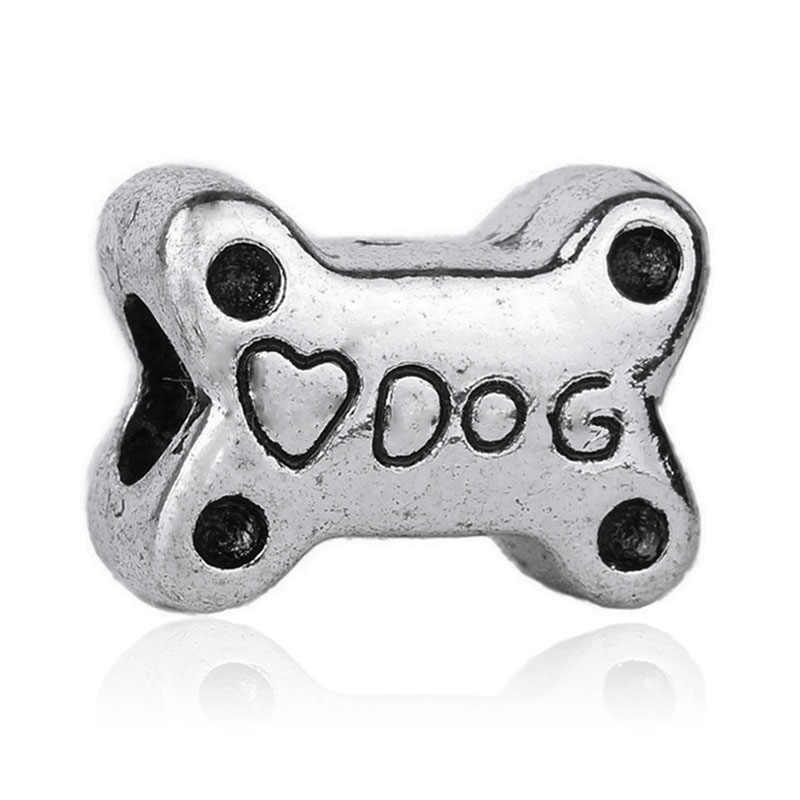 Free Shipping Crystal Dog Paw Bead fit Original Pandora charms silver 925 Bracelet trinket jewelry for women man making