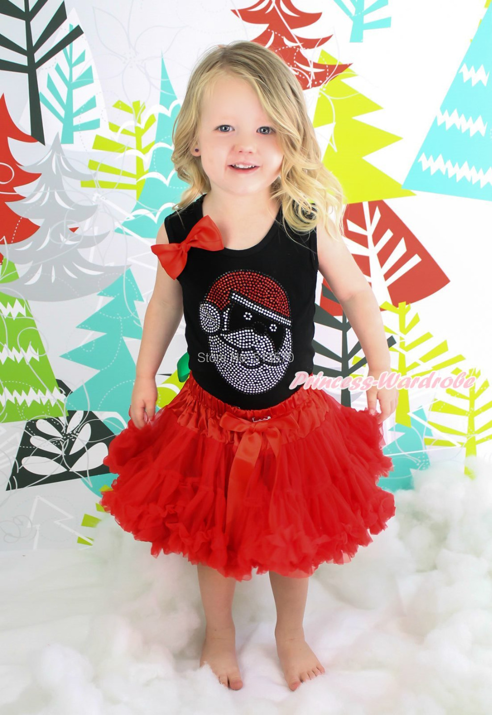 XMAS Rhinestone Santa Claus Print Black Top Red Skirt Baby Girl Outfit Set NB-8Y MG1352 my 1st christmas santa claus white top minnie dot petal skirt girls outfit nb 8y