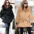 2015 Novo estilo Britânico casaco de lã de moda de alta qualidade gola de pele plus size roupas Jaqueta outwear com cap turco dubai