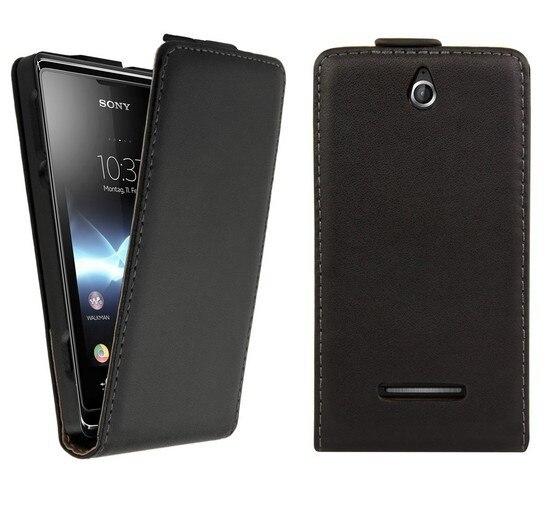 Vertical Flip Cover Mobile Phone Bag for Sony Xperia E Dual C1605 Leather Case Retro Book Design Black White Purple