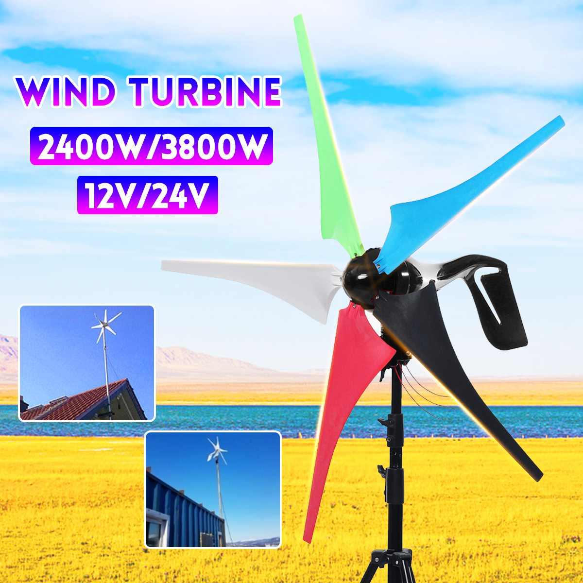 2400/3800W générateur de vent 12/24V générateur de vent domestique contrôleur de vent cadeau gratuit présent ensemble accessoires de montage