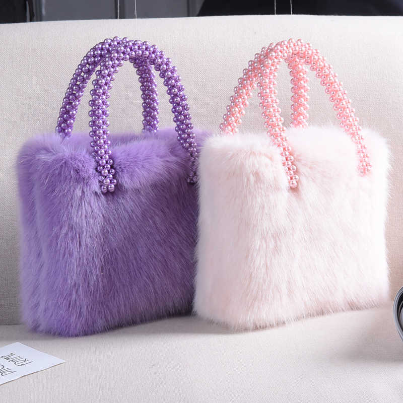 ... Ins Fashion Pearl Bags For Women Winter 2018 New Streetwear Girls  Luxury Faux Fur Bags Fluffy ...