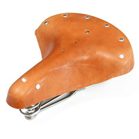 OUTERDO Pure Leather Cycling Cushion MTB Road Mountain Bicycle Seat Trunk Leather Retro Saddle Rivet Vintage