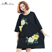 BelineRosa Plus Size Women S T Shirts European Fashion Flower Embroidery Appliques Long Shirt Women TYW00401