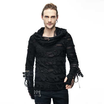 Punk Men Ripped T Shirts Hooded Black T-shirts Holes Long Sleeve Spring Tee Shirts Polyester Casual Tops - DISCOUNT ITEM  0% OFF All Category