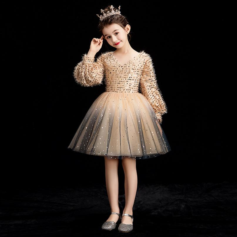 Baby girls clothes V neck Sequined Flower Girl Dress Wedding Lantern Sleeve Ball Gown Kids Pageant