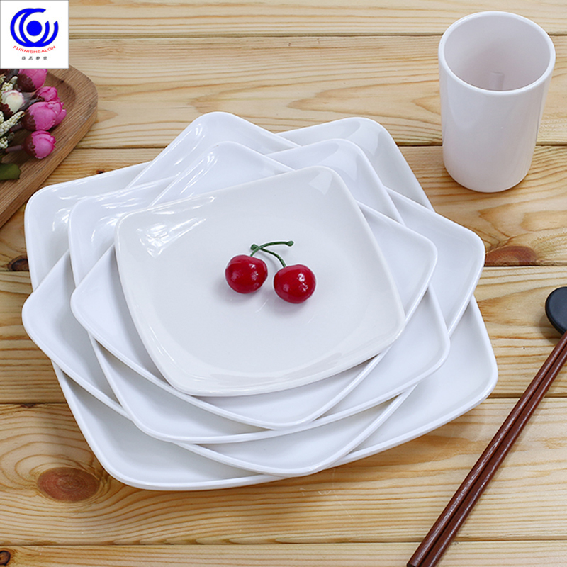 Creative Plastic Square Plates Dish Ceramic Trays Plate For Food Serving Decorations Dinner Tableware White Tray