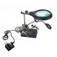 Professionelle Lupe Schreibtischlampe Reparaturschelle Lupe Lupen Objektiv Tisch mit 5 LED-Licht US/Eu-stecker
