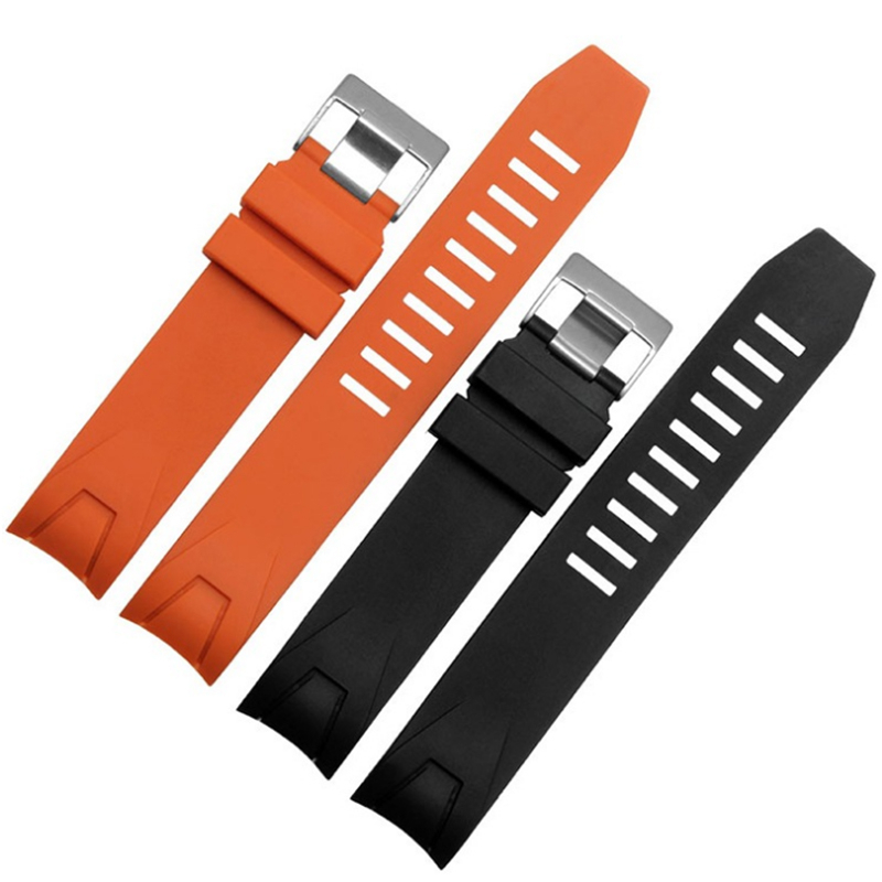 MERJUST 20mm 22mm Orange Black Rubber Strap Waterproof Diving Curved End Watchband for Omega Seamaster Planet Ocean Speedmaster-in Watchbands from Watches