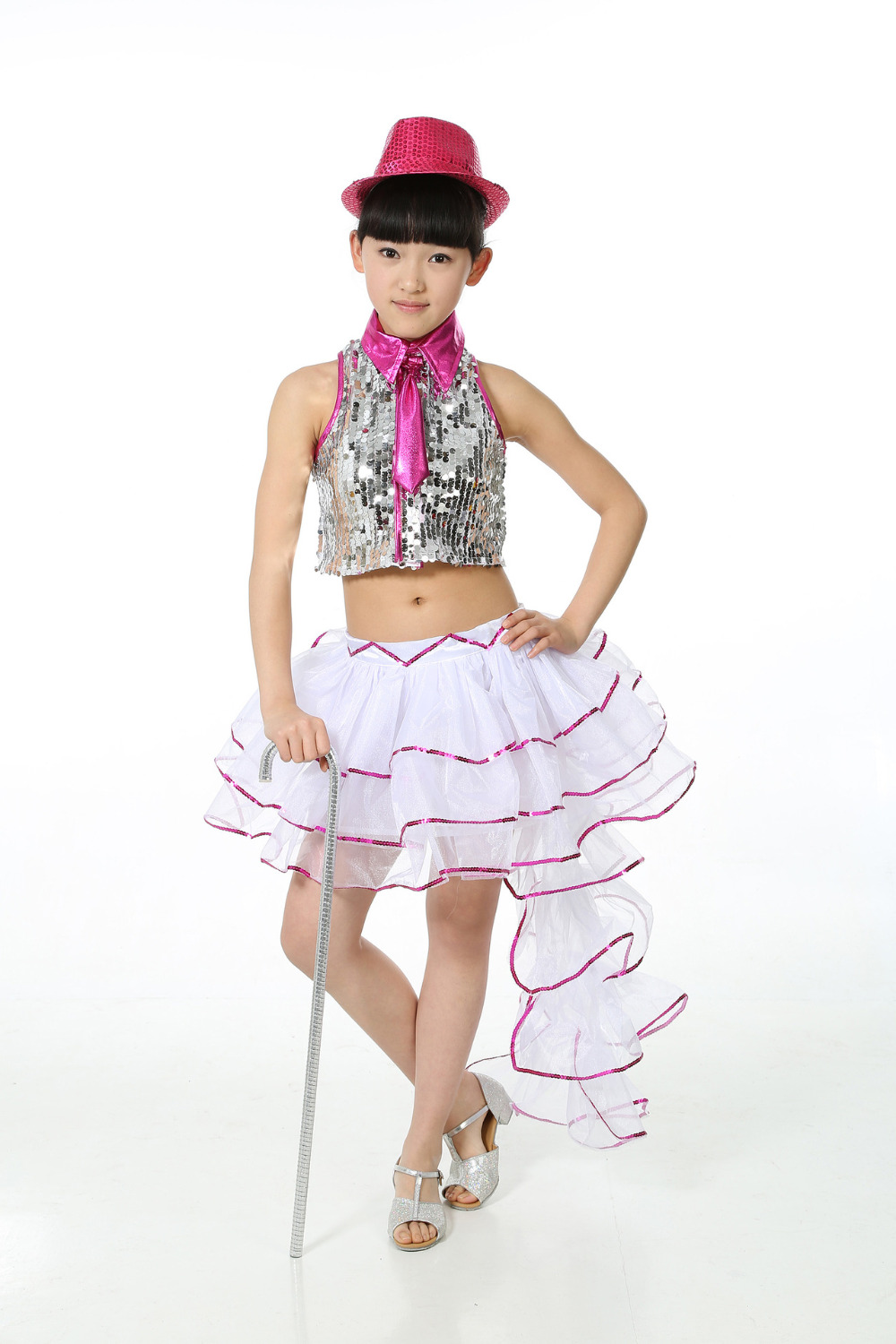 5-15Y Children Sequin Jazz Top & Tuxedo Skirts Girls Vestido Lentejuelas Kids Modern Dance Clothes Latin Stage Show Costume Wear