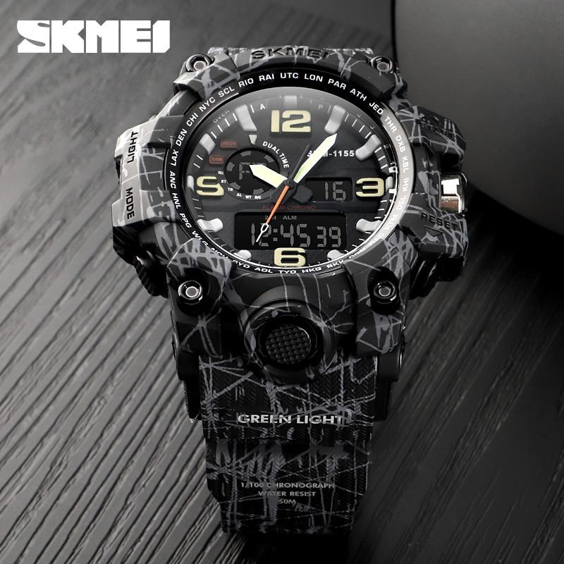 лучшая цена SKMEI Brand Men Sports Watches Outdoor Military 50M Waterproof Analog Digital LED Electronic Wristwatches Relogio Masculino 1155