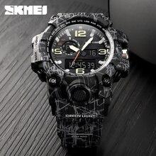 SKMEI Марка Для мужчин спортивные часы Открытый Военный 50 м Водонепроницаемый Аналоговый Цифровой светодио дный электронный Наручные часы Relogio Masculino 1155
