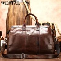 WESTAL men's travel bag leather duffle bag men'genuine leather laptop/weekend bag for men leather travel bags hand luggage 8566