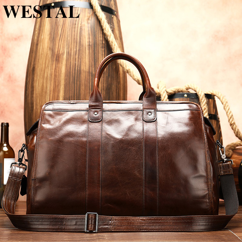 WESTAL Men's Travel Bag Leather Duffle Bag Men'genuine Leather Laptop/weekend Bag For Men Leather Travel Bags Hand Luggage 8566