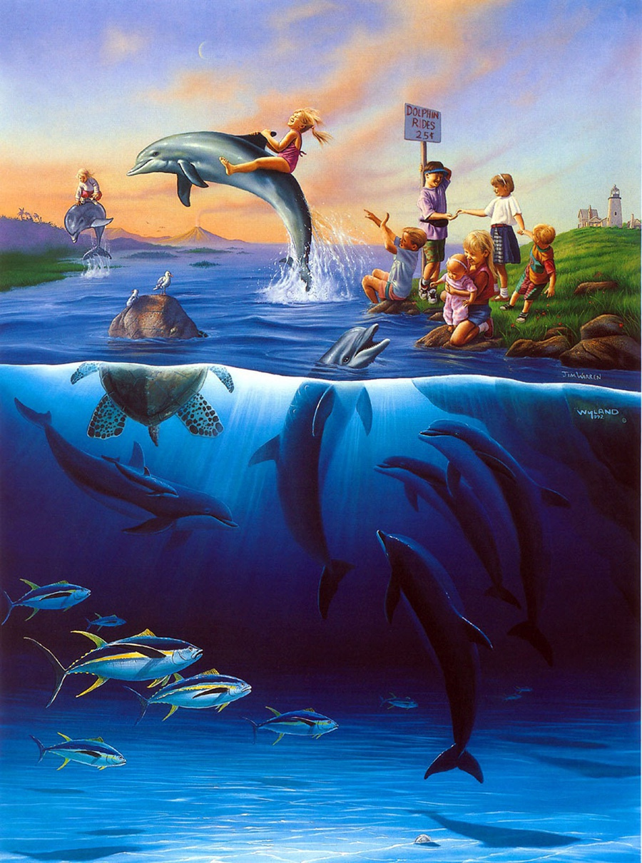 a1146 jim warren illustration art sea fish child hd canvas print