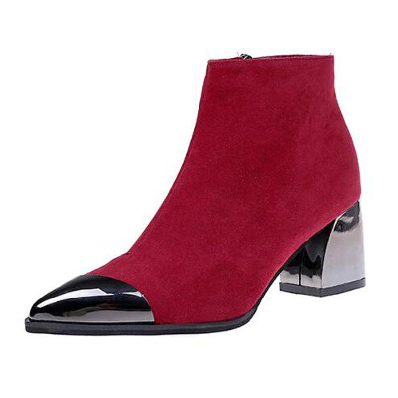 Punta Moda Negro Rebaño Botas La De Vestido Negro marrón Covoyyar Bloque Invierno Tacón 2018 Zapatos Señora Mujer Otoño rojo Wbs425 4Tw4qzY7