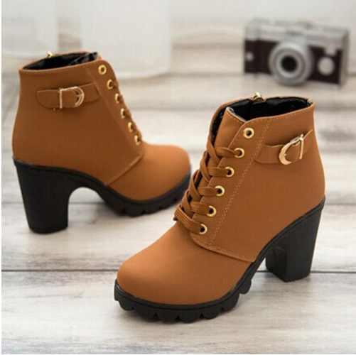 SLYXSH botas de mujer estilo británico botas clásicas de motocicleta de mujer Punk vendaje otoño zapatos impermeables zapatos negros más siz