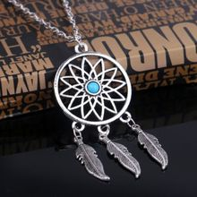 Antique Silver Boho Dreamcatcher Necklace Women Long Turquoise Leaf Angel Necklace Pendant Chocker stylish faux turquoise carving leaf tassel necklace for women