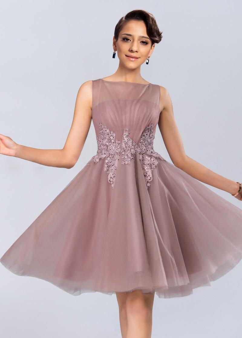 Elegant Pink Lace Short   Prom     Dresses   2015 A Line Scoop Neck Chiffon Mother Of Bride Party Gown Vesetidos de Baile