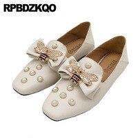 Flats Rhinestone Pearl Crystal Mules Diamond Designer Shoes Women Luxury 2018 Loafers Square Toe Slippers Bee Italian Celebrity