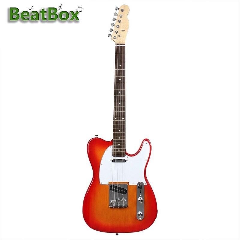BeatBox 32CMX100CM набор для электрогитары Вишневый красный пакет с сумкой, ремешком, струной, Tunerand выберите музыкальный инструмент для начинающих