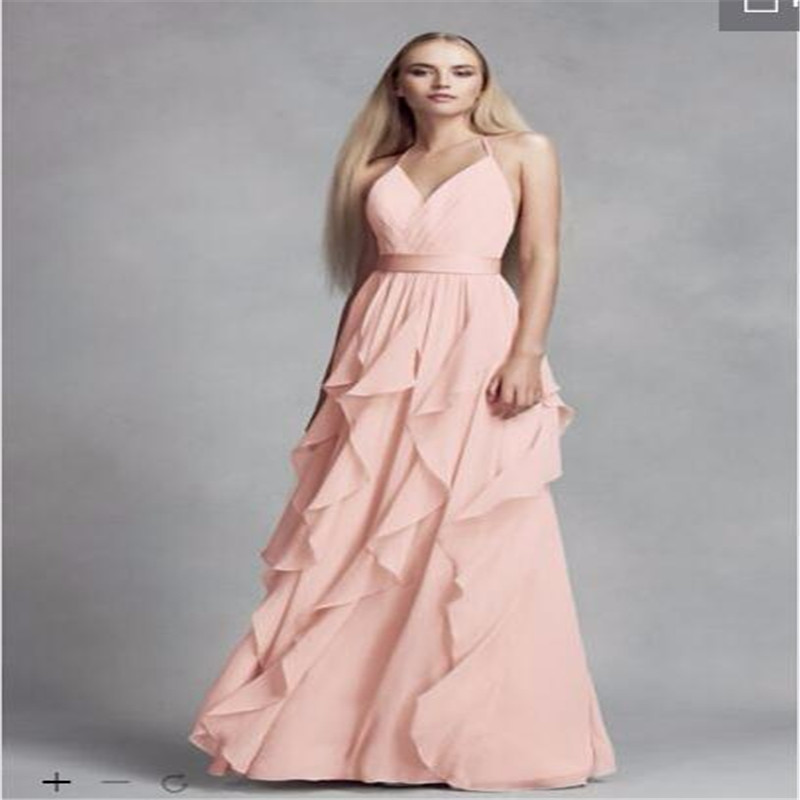 2017 Chiffon Bridesmaid Dresses with Cascading Ruffles Skirt halter ...
