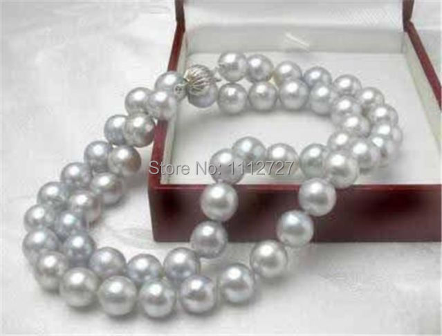 "DIY Charming!  8MM Gray Akoya Cultured Shell Pearl Necklace 18"" AAA beads jewelry making AAA+++ about52pcs/strands"