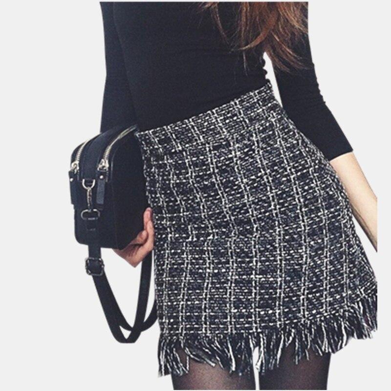 109dd28357 Colorfaith 2018 Women Woolen Mini Skirt Autumn Winter Vintage Straight  Plaid Tassel Skater Skirt High Waist