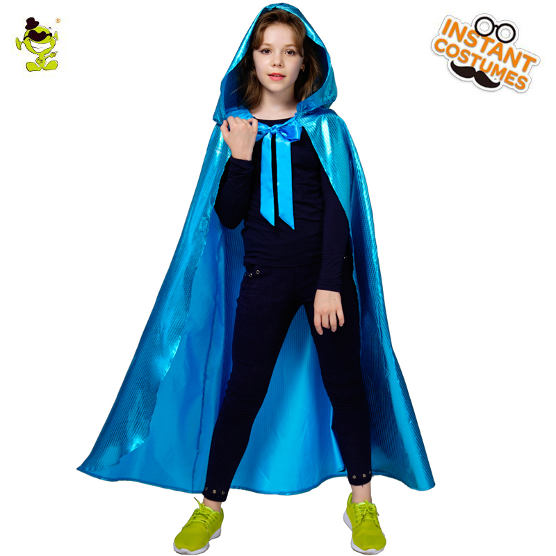 Halloween Kids Mysterious Cloak girl Costumes Horror Bloody Fancy Dress Uniform with Cape & masquerade party Girl Clothing Set