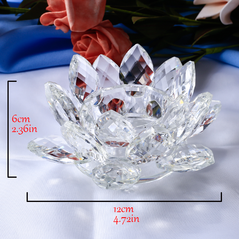 2 Stücke Kristall Farbton Reflexion Kristall Lotus Blume Kerzenhalter