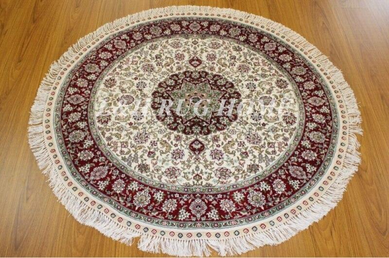 Livraison gratuite 300 ligne 4'x4 '(120x120 cm) tapis persan Oriental en soie noué à la main, tapis en soie fait main, haute qualité