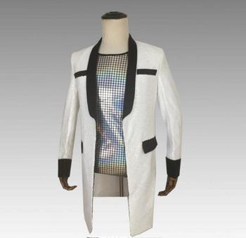sequins blazer men suits designs jacket mens stage singers clothes dance star style dress punk rock masculino white black