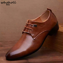 WHOHOLL British Business Dress Shoes Man Pointed-toe Lace Up Oxford Shoes Men Flat Formal Office Leather Shoes Black Brown hot sale autumn lace up square toe men dress shoes black leather shoes luxury male casual shoes man office feast formal shoes