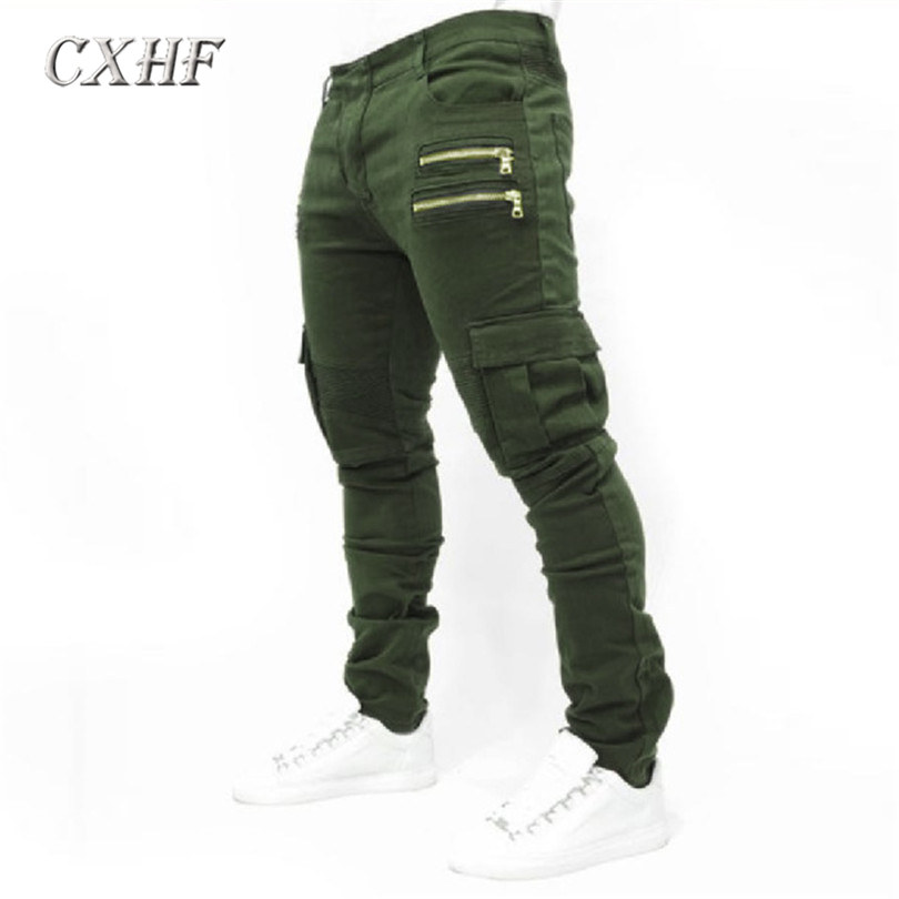 ФОТО Hot-selling 2017 men's pants tractical elastic denim active pants cotton trousers Winter Double Layer Men's Classic Cargo Pants
