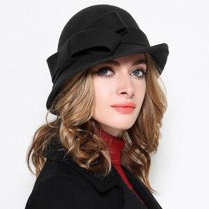 Image 4 - Kadın parti resmi şapkalar bayan kış moda asimetrik ilmek 100% yün keçe şapkalar