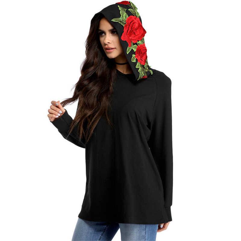2018 트렌드 패션 솔리드 컬러 후드 자수 로즈 라운드 넥 셔츠 하라주쿠 스타일 셔츠 기질 스웨터