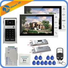 9 inç 1V2 LCD görüntülü kapı telefonu interkom sistemi + elektrikli Bolt kilit + kimlik endüktif kart şifre kamera + güç kaynağı + kapı çıkış