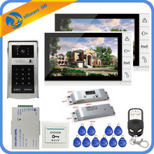 9inch 1V2 LCD video door phone intercom system+Electric Bolt Lock+ID Inductive Card password Camera + Power Supply+Door Exit