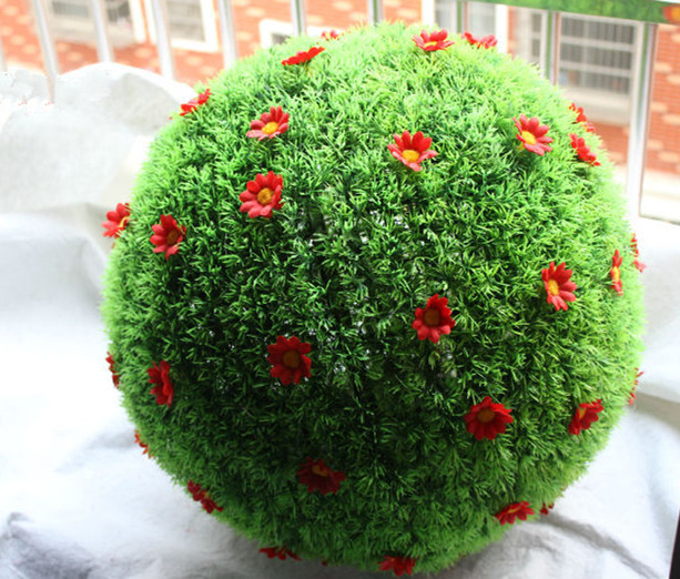 Mixed Sizes Artificial Topiary With Flowers Outdoor Hanging Baskets Gr