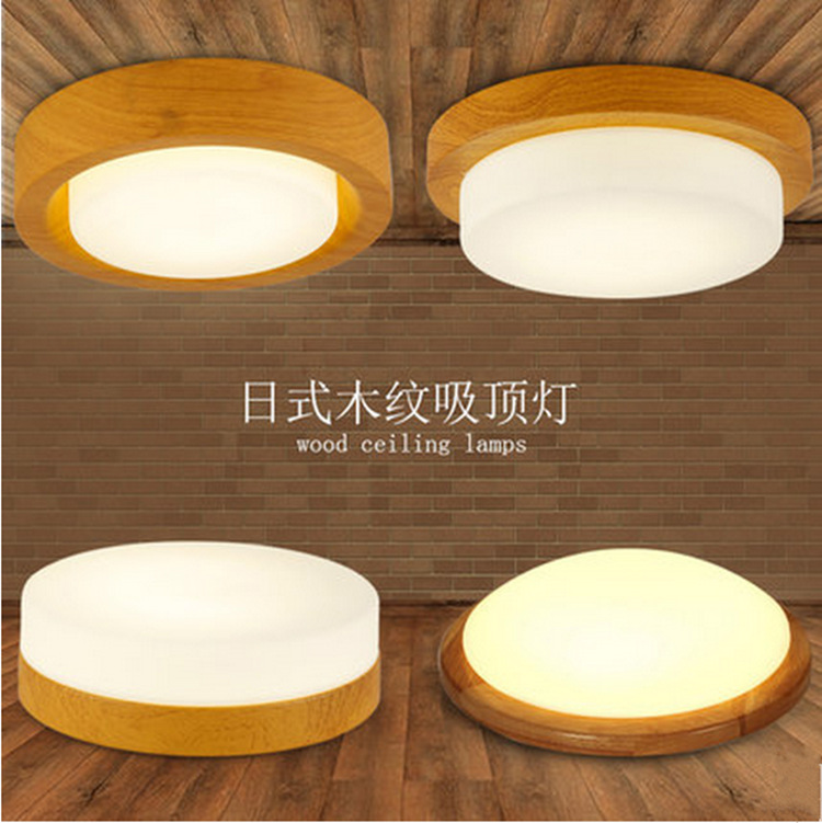 Japanese style Delicate Crafts Wooden round led ceiling lights luminarias para sala dimming led ceiling lamp