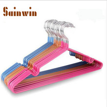 Sainwin 10pcs/lot Stainless Steel Plastic Hangers For Clothes Pegs Wire Antiskid Drying Clothes Rack Adult And Children Hanger