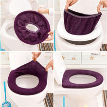 ISHOWTIENDA Warm Soft Toilet Cover Seat Lid Pad Bathroom Closestool Protector Bathroom Accessories Set Toilet Seat Cover Mat(China)