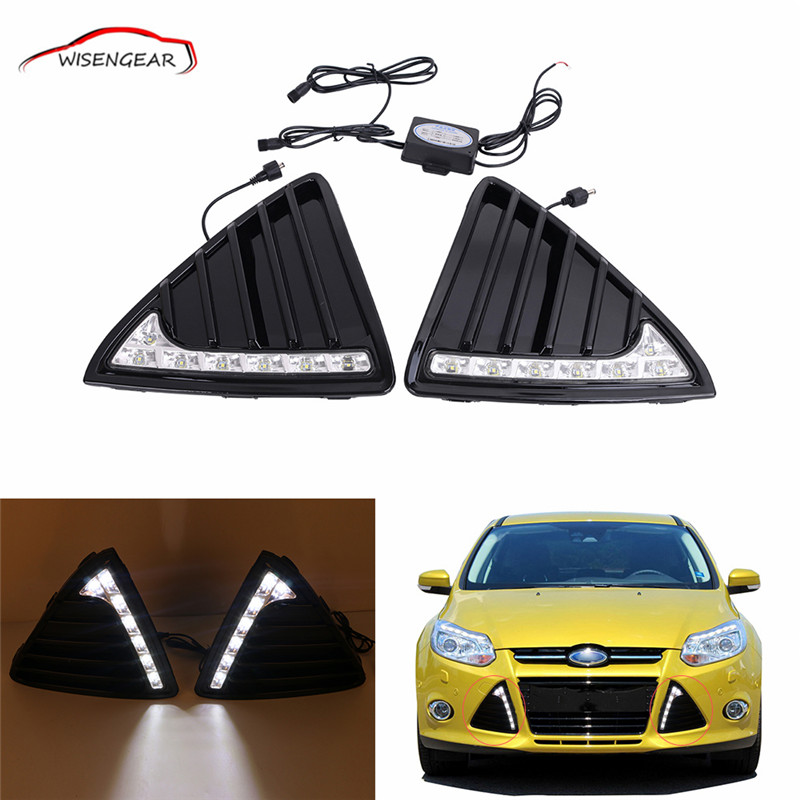 Car LED Daytime Running Light for Ford Focus 2011 2012  2013 Daylight Fog Lights Lamps Dimming Relay Style DRL Controller C/5 багажник на крышу lux ford focus 2011 1 2м аэродинамические дуги узкие 699475