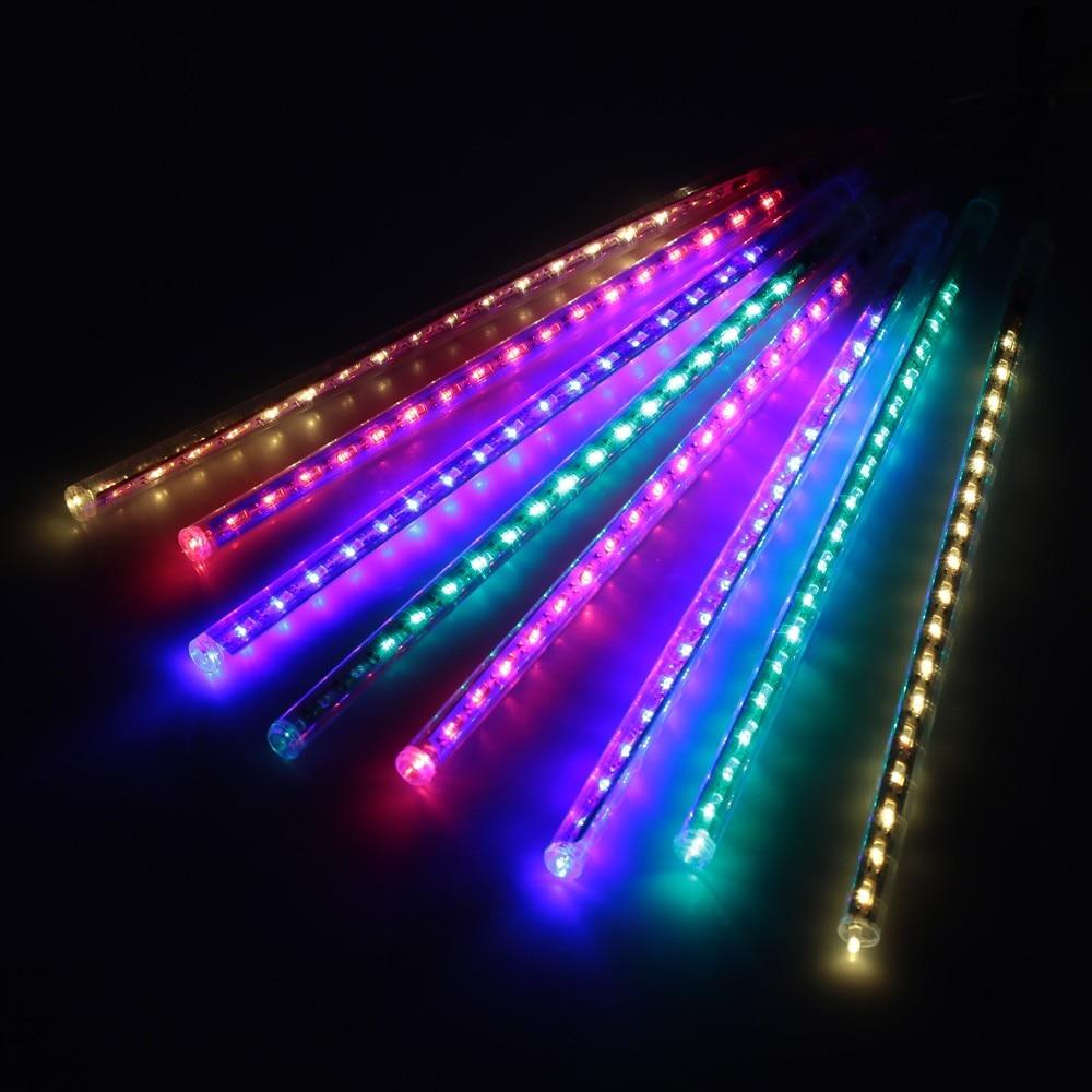EU Plug Mix Color Meteor Shower Rain LED Light String 8 Tubes 30cm Falling Snow Strip Festival Garde Tree Decorations все цены