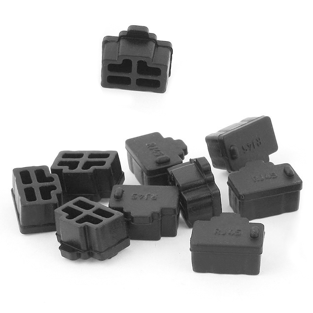 10Pcs Black Laptop/computer/Router Ethernet Hub Port RJ45 Networke Interface  Protector Cover Cap  Anti Dust Plug
