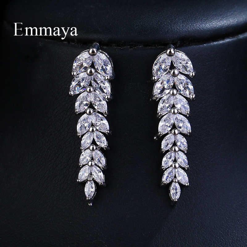 Emmaya Brand Fashion Charm AAA Cubic Zircon Multicolor Salix Leaf Pendant Earrings For Women Wedding Party Jewelry Gift